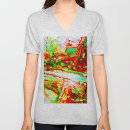 In the Thicket Abstract Unisex V-Neck