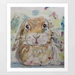 Lop rabbit portrait Art Print