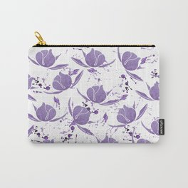 Hand painted lilac violet watercolor splatters floral Carry-All Pouch