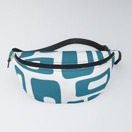 Retro Mid Century Modern Abstract Pattern 336 Peacock Blue Fanny Pack