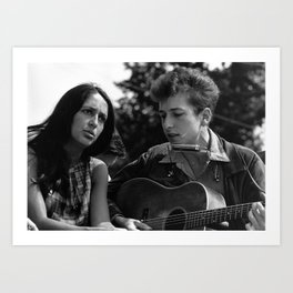 Bob Dylan and Joan Baez at the March on Washington, 1963 Art Print