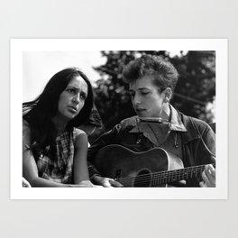 Bob Dylan and Joan Baez at the March on Washington, 1963 Art Print