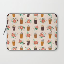 Coffee floral bouquet coffee lovers java bean cute pattern print for kitchen Laptop Sleeve