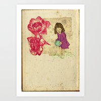 Little girl with ball Art Print