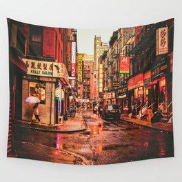 New York City Rain in Chinatown Wall Tapestry