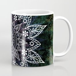 Rising Soul Mandala Design White Blue Green Coffee Mug