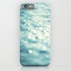 Sparkly Water Abstract Photography, Aqua Blue Sparkle Art Slim Case iPhone 6s