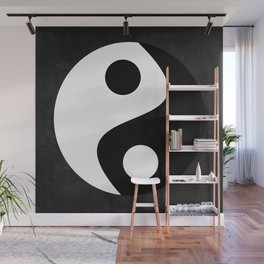 Yin and Yang - Black and White, Gray Wall Mural