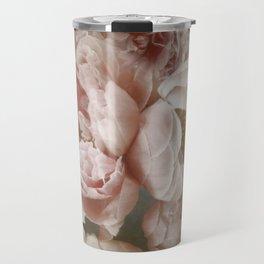Big Roses And Peonies Soft Pink Vintage Botanical Garden Travel Mug