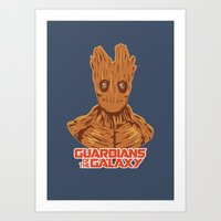 groot Art Prints featuring Groot  by bookotter