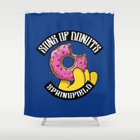 simpsons Shower Curtains featuring Sons Of Donuts / Simpsons / Donuts by Adrien ADN Noterdaem
