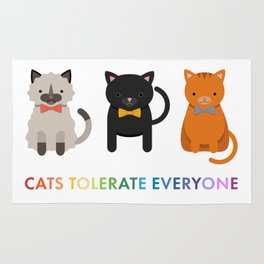 Cats Tolerate Everyone - white Rug