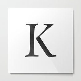 Letter K Initial Monogram Black and White Metal Print