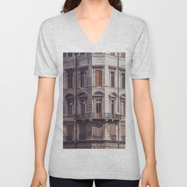 AERIAL PHOTOGRAPHY OF WINDOWPANE OF THE BUIDLING Unisex V-Neck