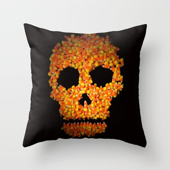 Candy Corn Skull Throw Pillow