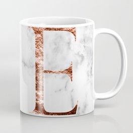 Monogram rose gold marble E Coffee Mug