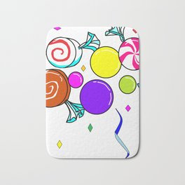 Peppermint, Caramel, Bubble Gum, Candies with Confetti Bath Mat