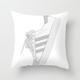 sneaker illustration, shoe drawing, 80s , black and white Throw Pillow