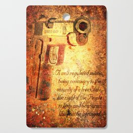 M1911 Pistol And Second Amendment On Rusted Overlay Cutting Board