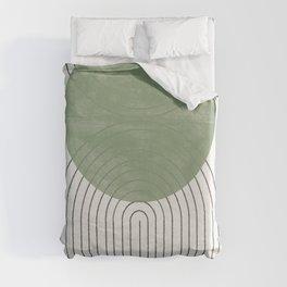 Green Moon Shape Duvet Cover