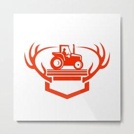 White Tail Deer Antler Tractor Retro Metal Print