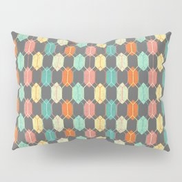 Midcentury Hexagon Argyle on Grey Pillow Sham