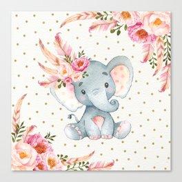 Boho Floral Elephant - Pink & Faux Gold Canvas Print
