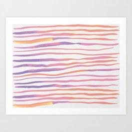Irregular watercolor lines - pastel pink and ultraviolet Art Print