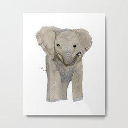 Watercolor Baby Elephant Metal Print