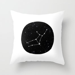 Virgo star sign zodiac star chart constellation black and white Throw Pillow