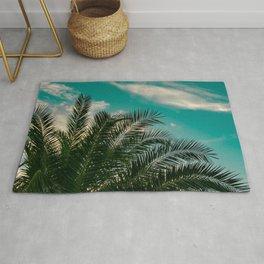 Palms on Turquoise - II Rug