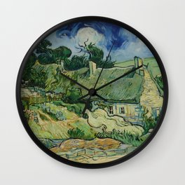 """Vincent van Gogh """"Thatched Cottages at Cordeville"""" Wall Clock"""