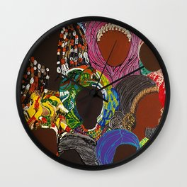 African Muslima Queens by Kelly Izdihar Crosby Wall Clock