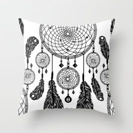 Dreamcatcher (Black & White) Throw Pillow