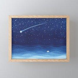 Falling star, shooting star, sailboat ocean waves blue sea Framed Mini Art Print