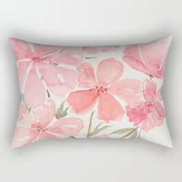 Pink & Coral Cherry Blossoms Watercolor Flowers  Rectangular Pillow