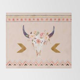 Bull Head Skull Boho Flowers Throw Blanket