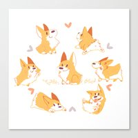 corgi Canvas Prints featuring Corgi by Inkinesss
