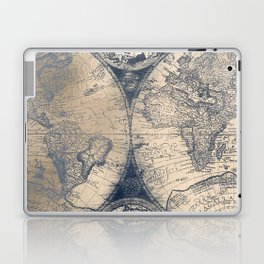 Antique World Map White Gold Navy Blue by Nature Magick Laptop & iPad Skin