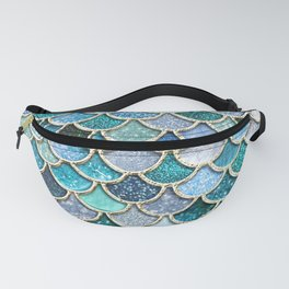 Multicolor Aqua Mermaid Scales - Beautiful Abstract Glitter Pattern Fanny Pack