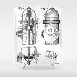 Fire Fighter Patent - Fire Hydrant Art - Black And White Shower Curtain