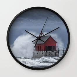 Grand Haven Lighthouse in a November Storm on Lake Michigan Wall Clock