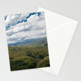 Green hills and blue sky with clouds. Stationery Cards
