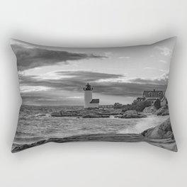 Annisquam Lighthouse Black and white Rectangular Pillow
