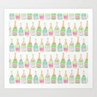 champagne Art Prints featuring Champagne by Abby Galloway
