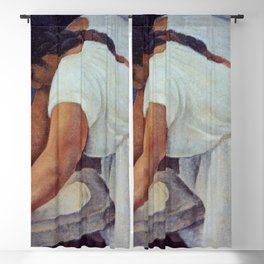 La Familia, La molendera - The Meal Grinder, Mexican portrait painting by Diego Rivera Blackout Curtain