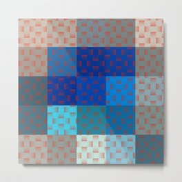 BLUE AND BROWN TONES - BLOCKS AND WEAVE PATTERN Metal Print