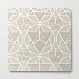 Merkaba sacred geometry pattern in neutral Metal Print