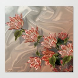 """""""Coral flowers on white silk"""" (Air Spring) Canvas Print"""