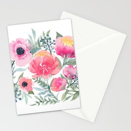 Peony and Poppy Flower Bouquet Stationery Cards